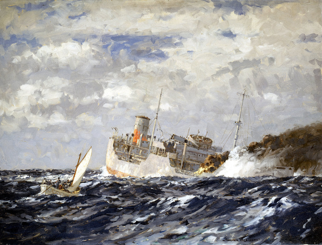 Detail of The 'San Demetrio' at the Jervis Bay action, 5 November 1940 by Norman Wilkinson