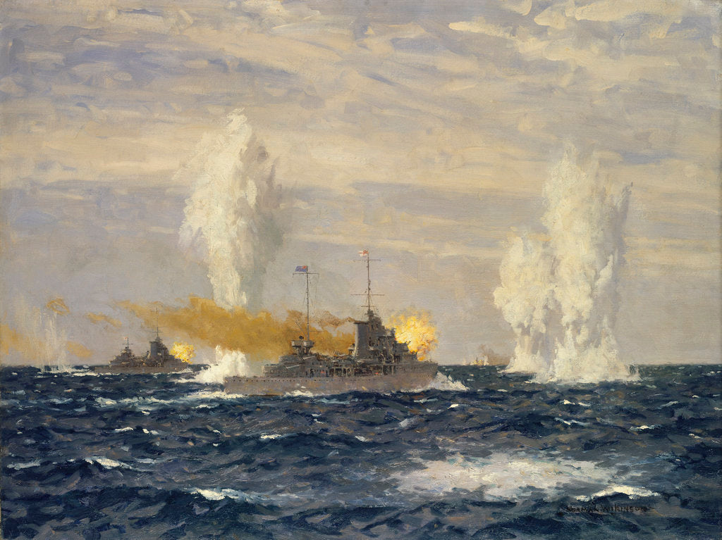 Detail of Action off the River Plate, 13 December 1939: pursuit of the 'Admiral Graf Spee' by Norman Wilkinson