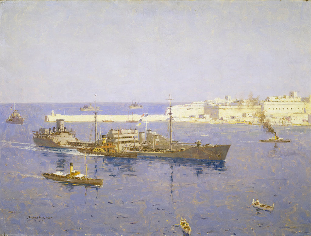 Detail of The 'Ohio' entering Malta, 14 August 1942 by Norman Wilkinson