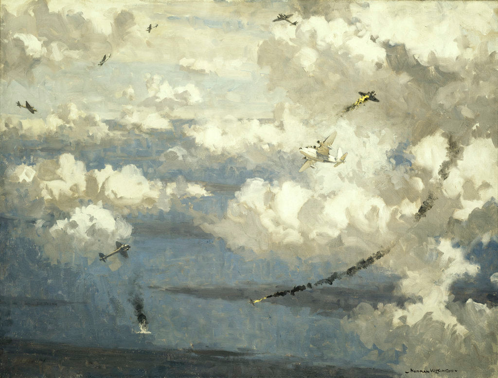 Detail of Air battle between a Sunderland flying boat and eight JU 88s by Norman Wilkinson
