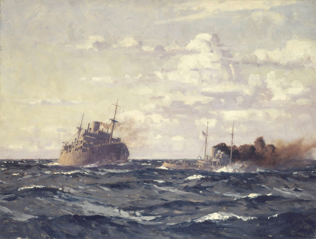 Detail of A rescue tug approaching a steamship by Norman Wilkinson