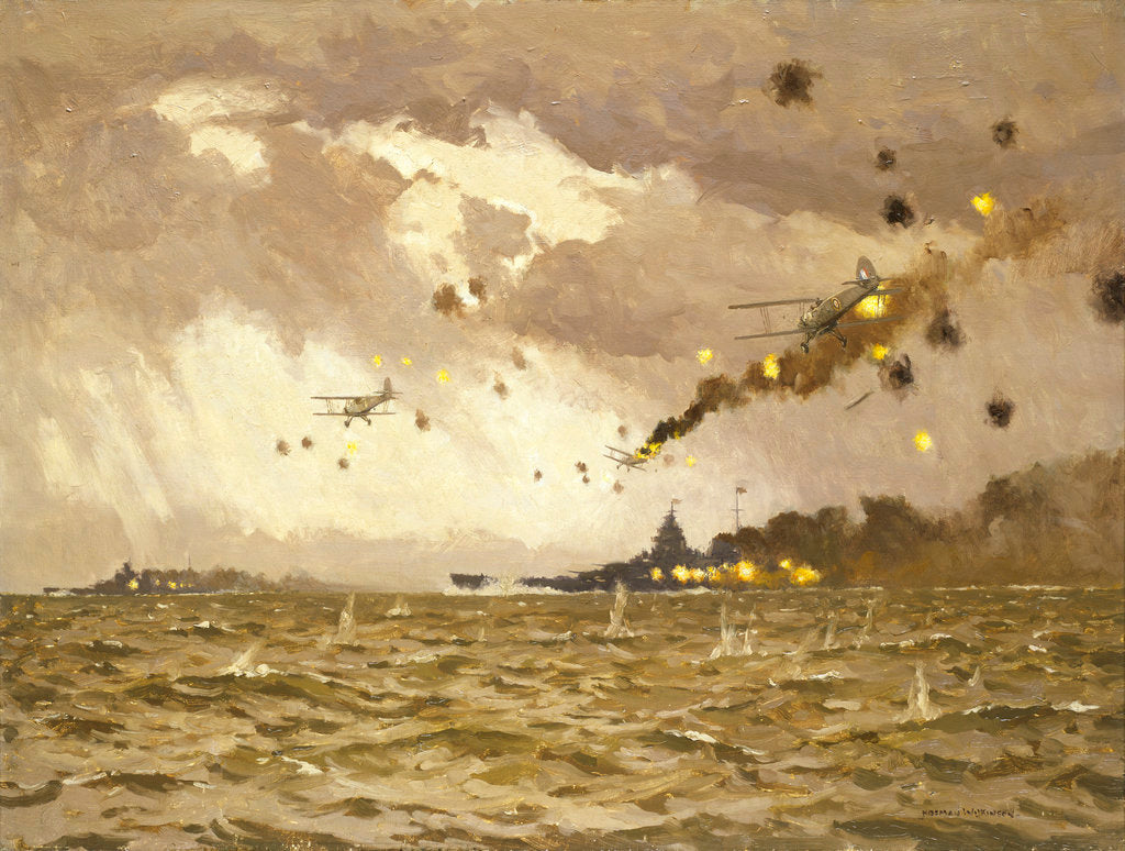 Detail of Air attack on the 'Scharnhorst and Gneisenau', 11-12 February 1942 by Norman Wilkinson