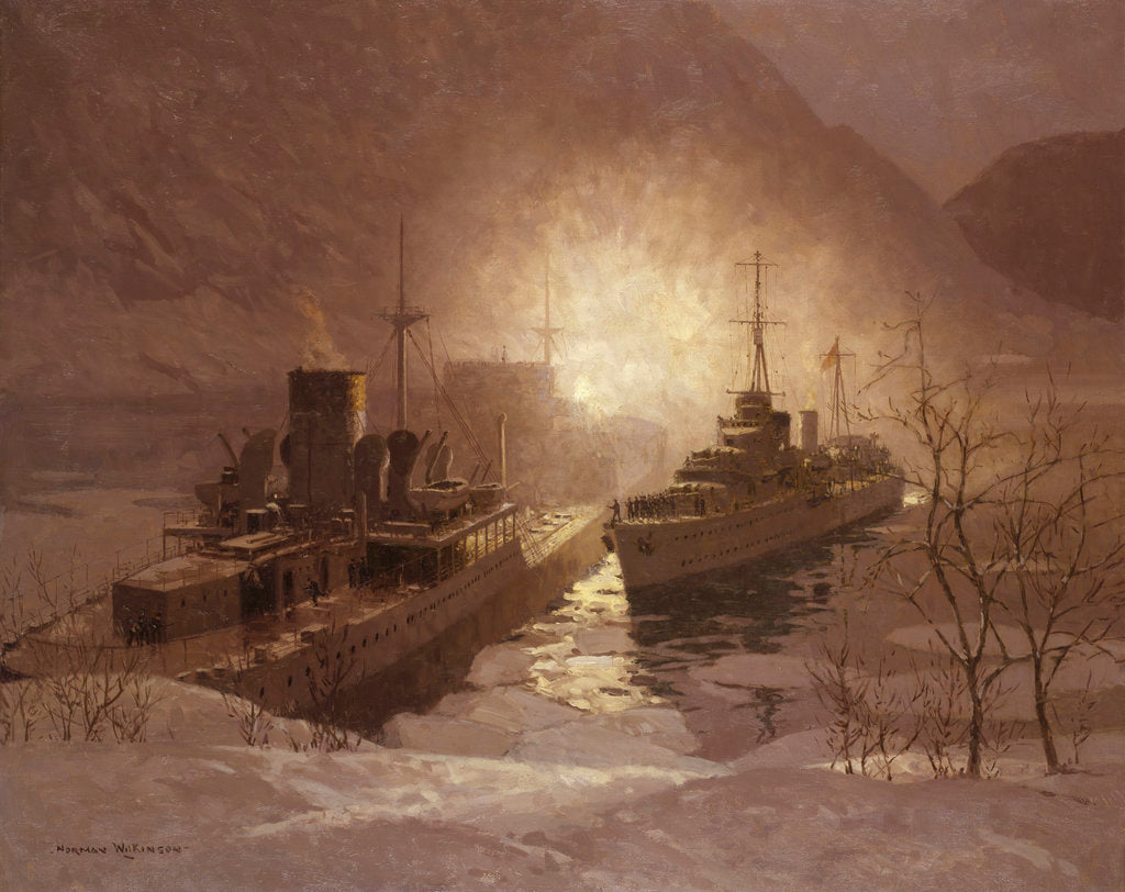 Detail of HMS 'Cossack' and the store ship 'Altmark', 16 February 1940 by Norman Wilkinson