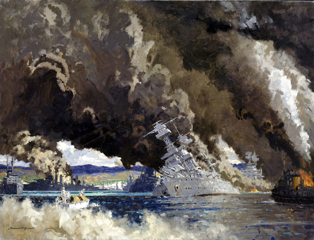 Detail of Japan signs her own death warrant: attack on Pearl Harbour, 7 December 1941 by Norman Wilkinson