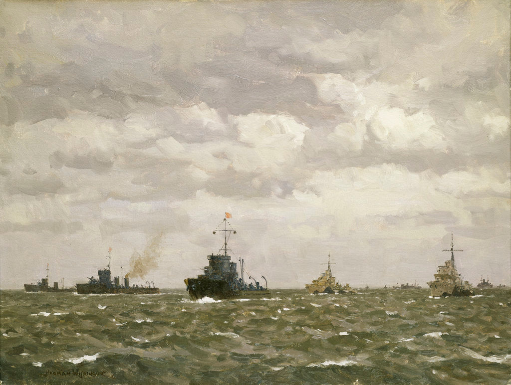 Detail of D-Day: sweeping ahead of the destroyers, early morning, 6 June 1944 by Norman Wilkinson