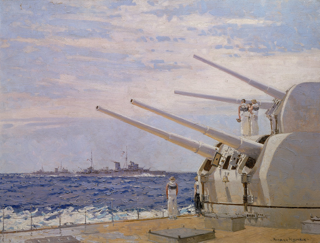 Detail of Six-inch gun light cruisers of the Leander class by Norman Wilkinson
