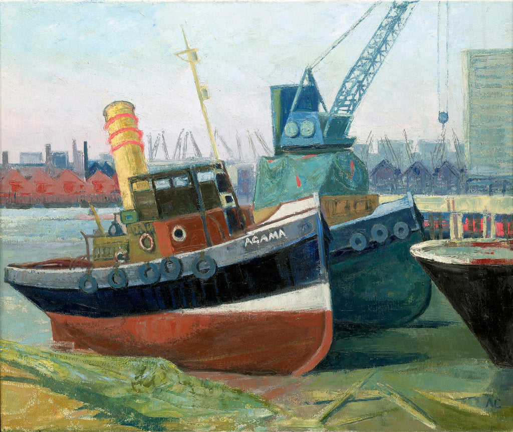 Detail of The tug 'Agama' at Greenwich by Anne Christopherson