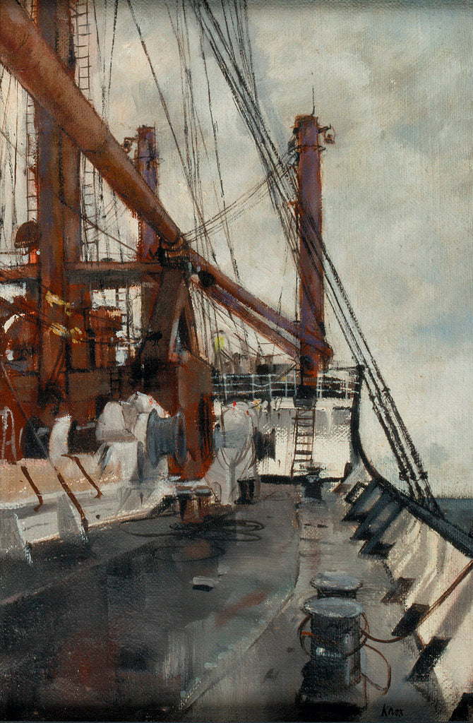 Detail of Deck scene on board a cargo liner by Cecil Peter Knox