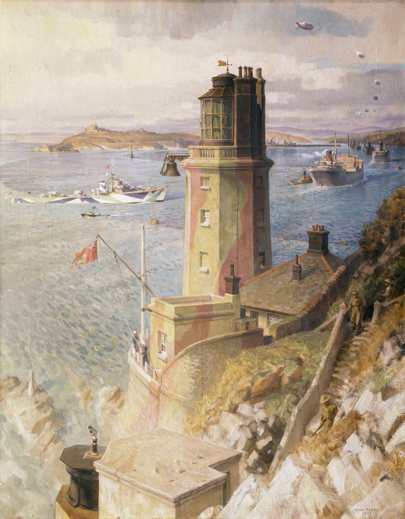 Detail of Convoy arriving off St Anthony's lighthouse, Falmouth by John Platt