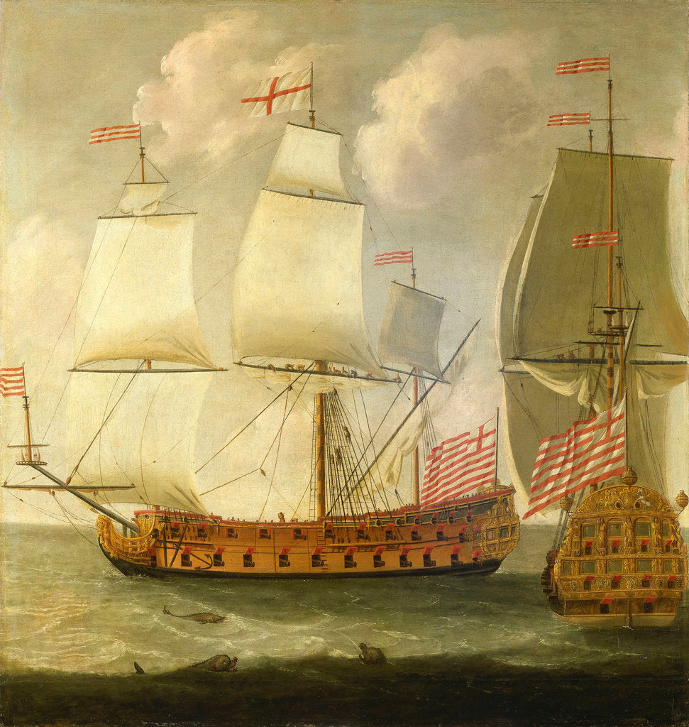 Detail of Two views of an East Indiaman of the time of King William III by Isaac Sailmaker