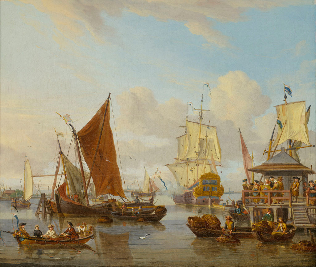 Detail of Shipping off Amsterdam by Abraham Storck