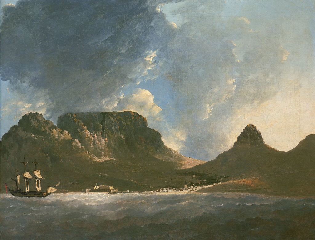 Detail of A View of the Cape of Good Hope, taken on the spot, from on board the 'Resolution' by William Hodges