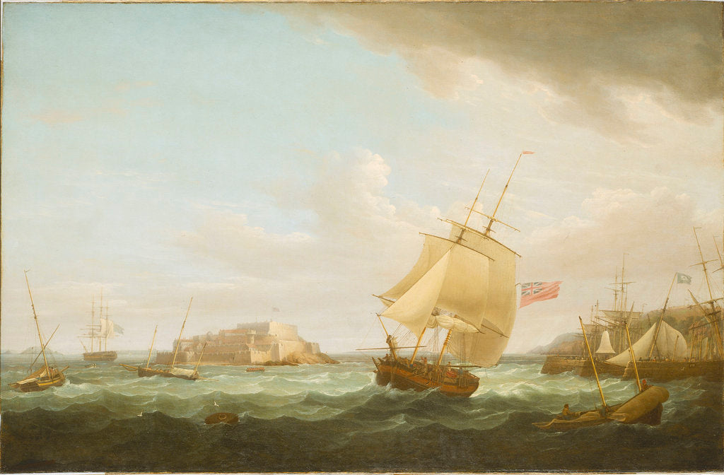 Detail of A merchantman and other vessels off Castle Cornet, Guernsey by Thomas Whitcombe