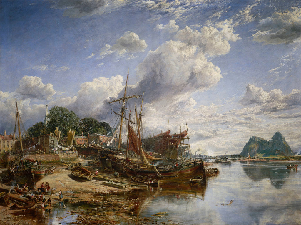 Detail of Gabbarts and iron-ship yard, Dumbarton by Samuel Bough