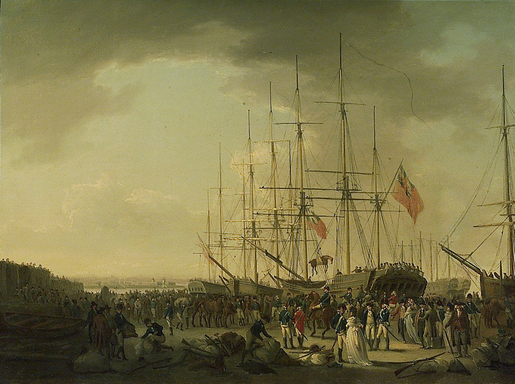 Detail of The cavalry embarking at Blackwall by William Anderson