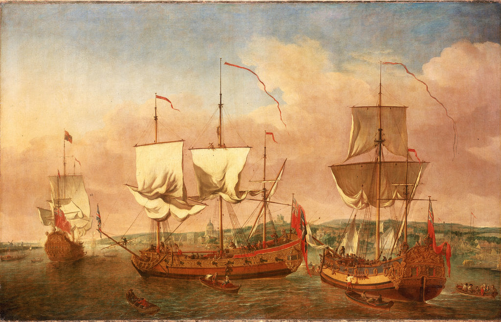 Detail of The 'Peregrine' and other Royal yachts off Greenwich circa 1710 by Jan Griffier