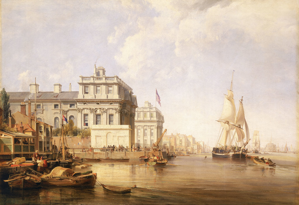 Detail of View of Greenwich Hospital from the north bank of the Thames, 1835 by George Chambers