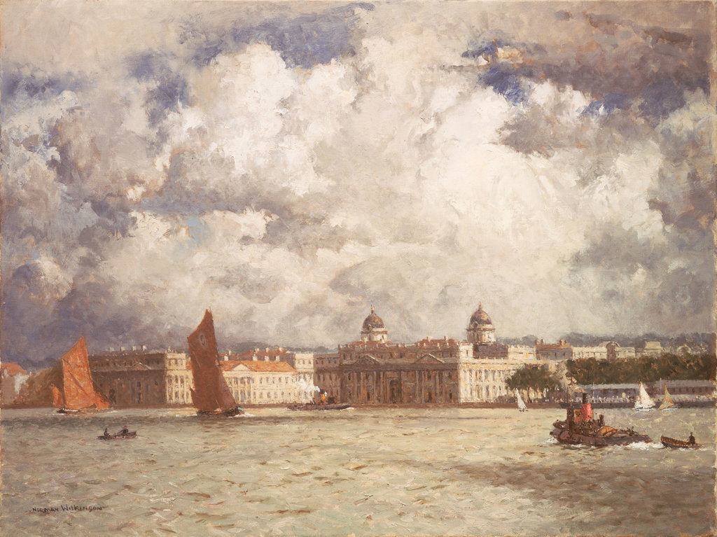 Detail of Barges off Greenwich by Norman Wilkinson