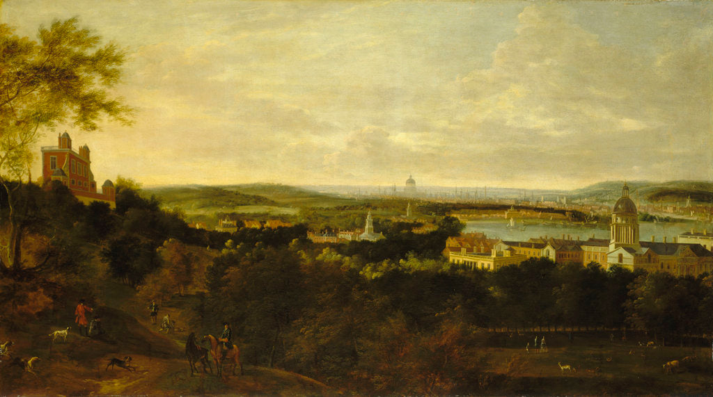 Detail of View of Greenwich and the river Thames from Greenwich Park by British School