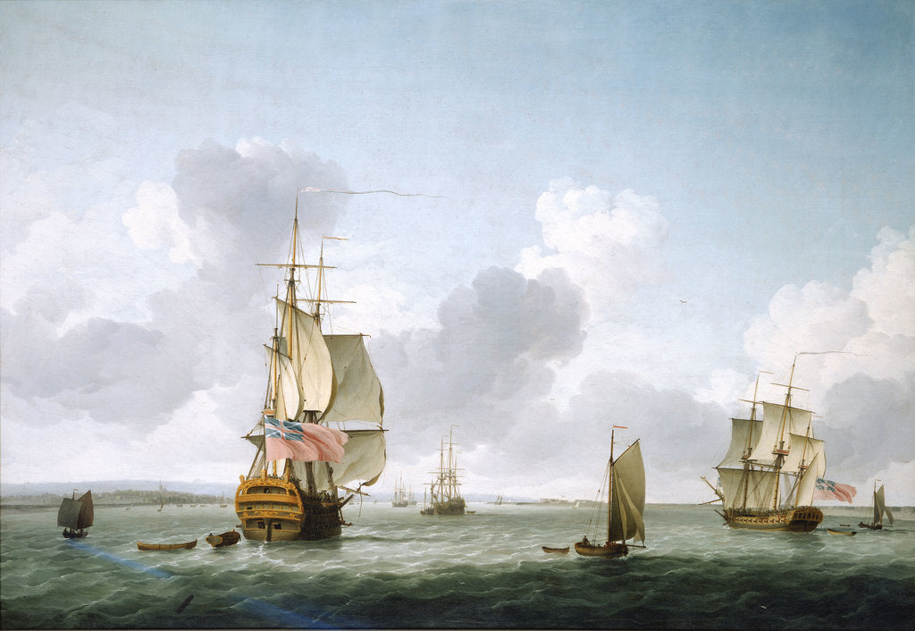 Detail of A two-decker and a frigate running into the Thames off Gravesend by Charles Brooking