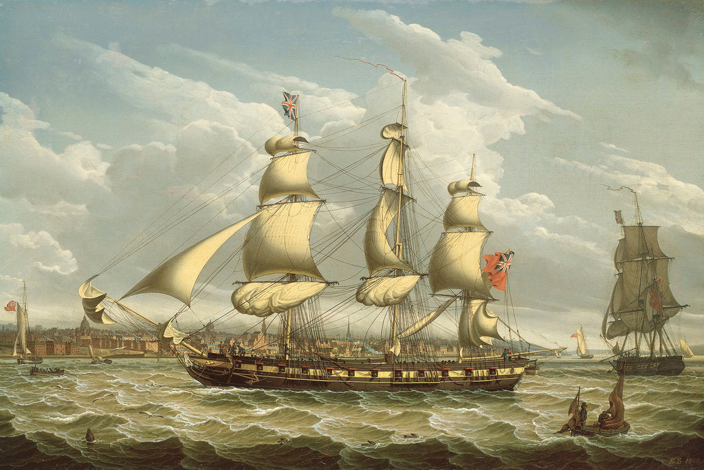 Detail of A packet off Liverpool by Robert Salmon