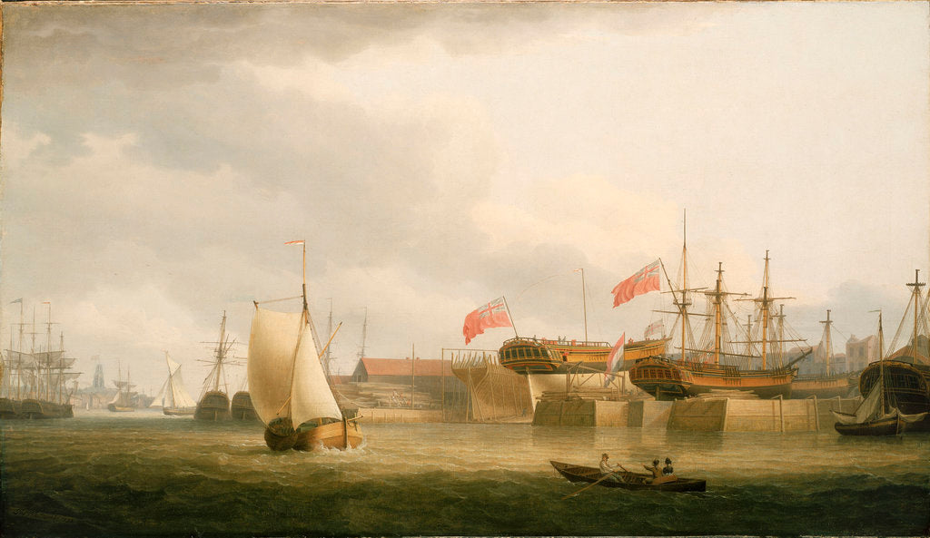 Detail of Shipbuilding on the Thames at Redriff by Thomas Whitcombe