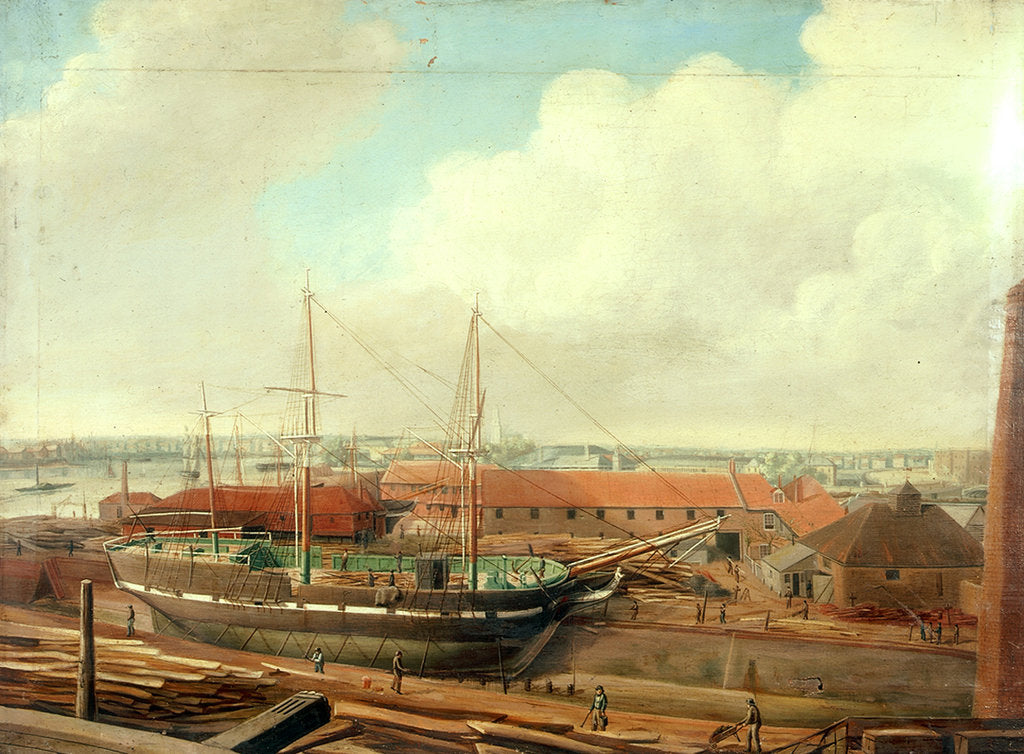 Detail of Fletcher's yard, Limehouse by Charles Deane