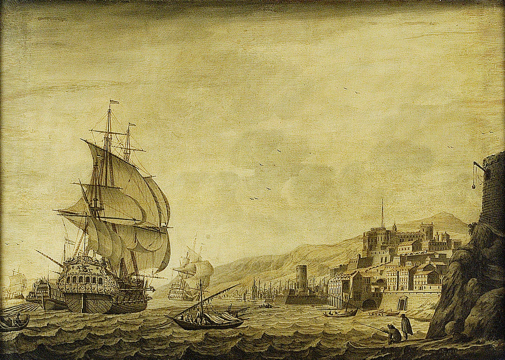 Detail of A Dutch ship arriving at Naples by Cornelis Bouwmeester