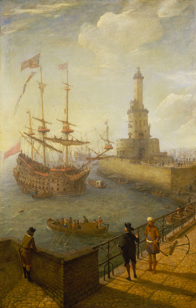 A Spanish three-decker at anchor off Naples by Abraham Willaerts