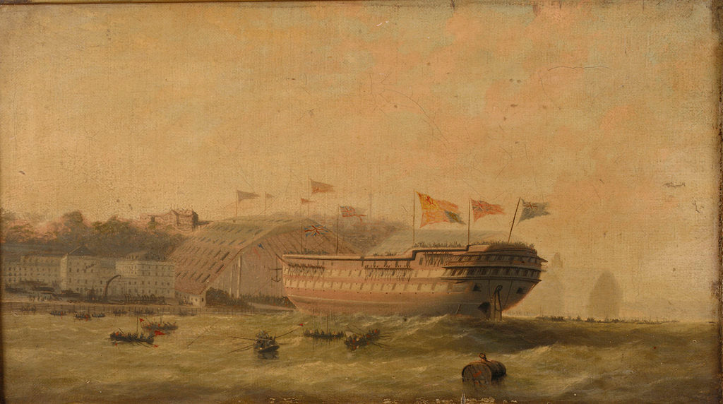 Detail of Launch of a ship at Plymouth by unknown