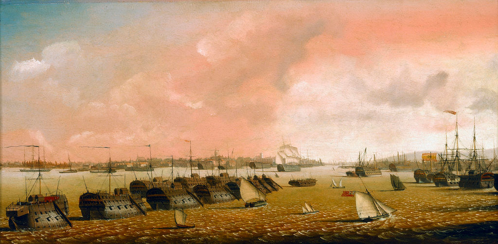 Detail of Prison hulks in Portsmouth harbour by Ambrose-Louis Garneray