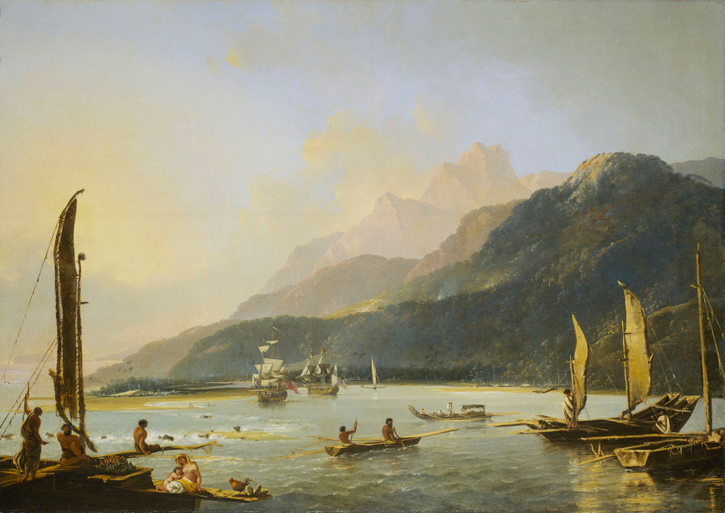 Detail of A view of Maitavie Bay, on the island of Otaheite (Tahiti) by William Hodges