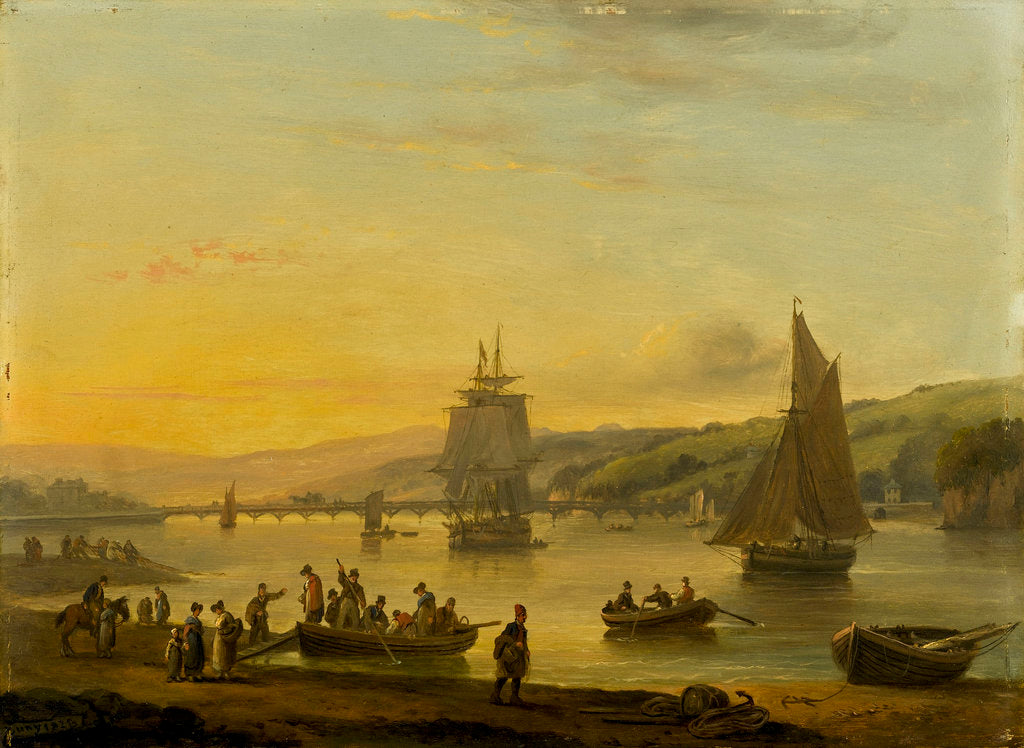 Detail of Landing from the ferry at Teignmouth, Devon by Thomas Luny