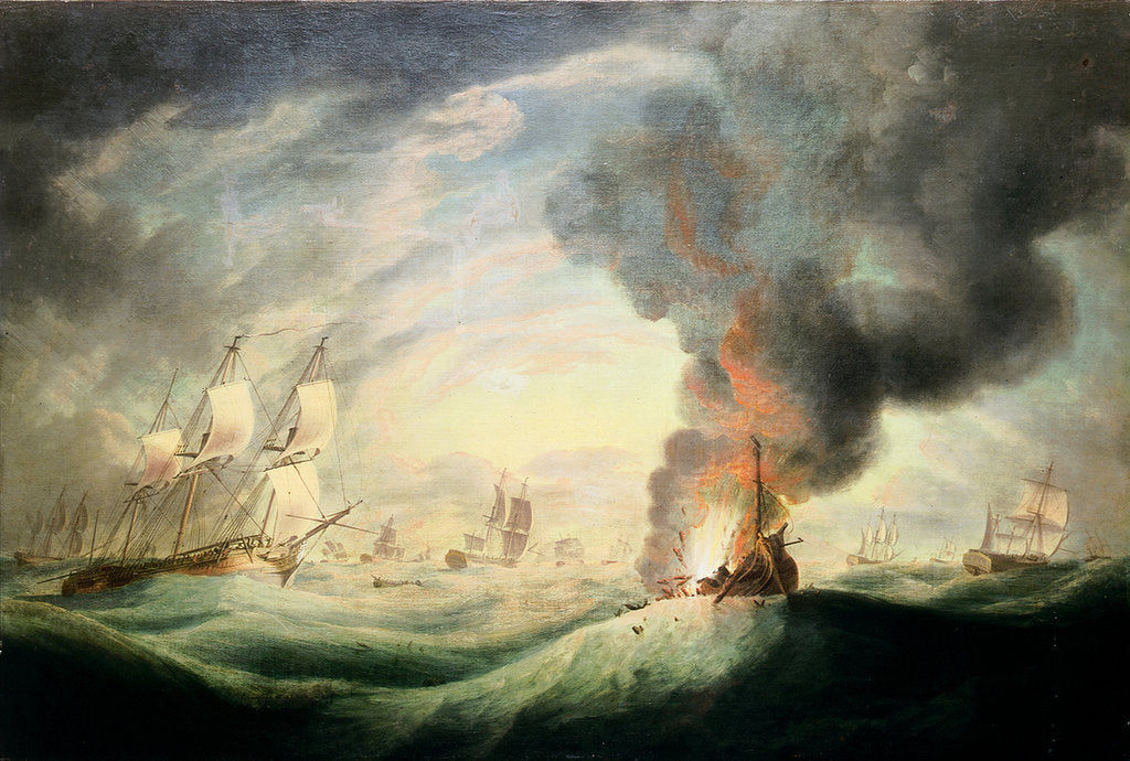 Detail of Loss of HMS 'Ramillies', September 1782: blowing up the wreck by Robert Dodd