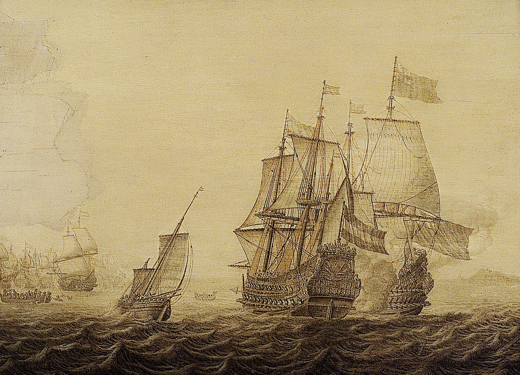 Detail of Action between Dutch and English ships by Heerman Witmont
