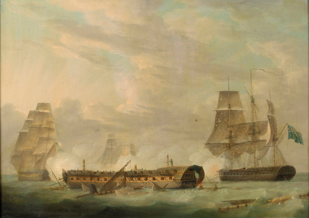 Detail of Action at sea: a French frigate completely dismasted by Robert Dodd