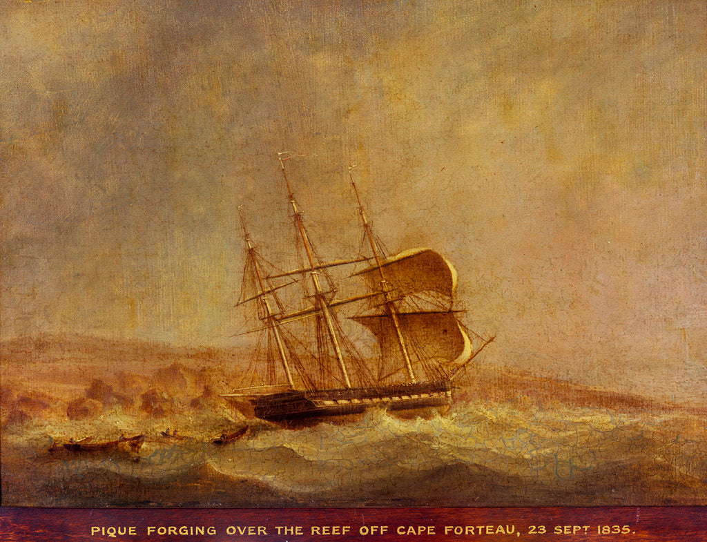 Detail of HMS 'Pique' off Point Forteau, 23 September 1835 by John Christian Schetky