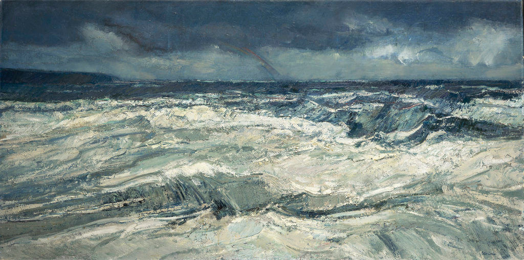 Detail of Rain, rainbow and stormy seas by Peter Godfrey Coker