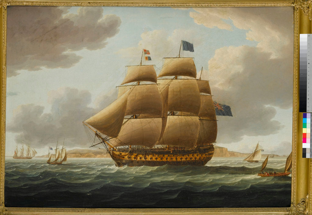 Detail of The Ville de Paris' under full sail by Thomas Buttersworth