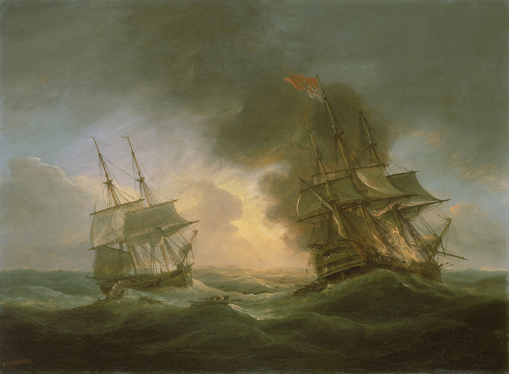 Detail of Loss of the East Indiaman 'Kent': catching fire, 1 March 1825 by Thomas Luny