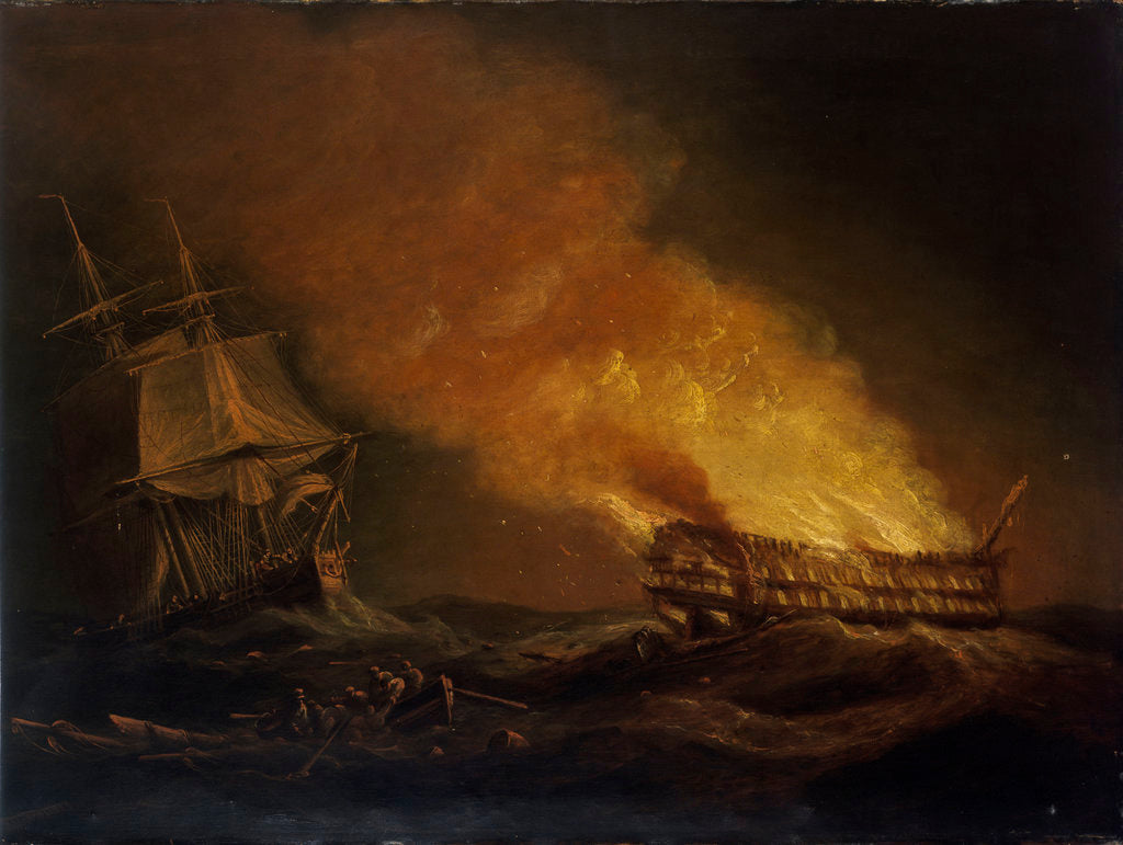 Detail of Loss of the East Indiaman 'Kent': the burning hulk, 1 March 1825 by Thomas Luny