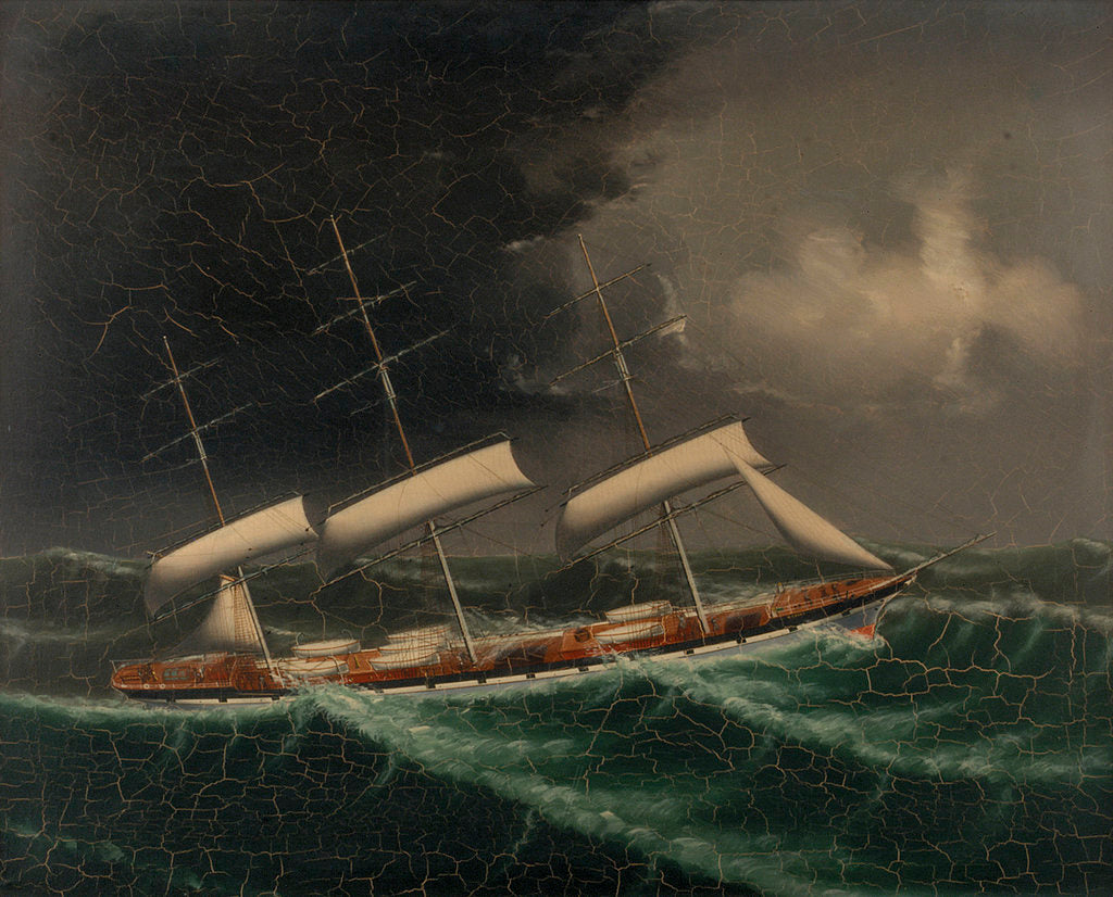 Detail of The coolie ships 'Mersey' (1894) and 'Volga II' (1892) in a gale by Chinese School
