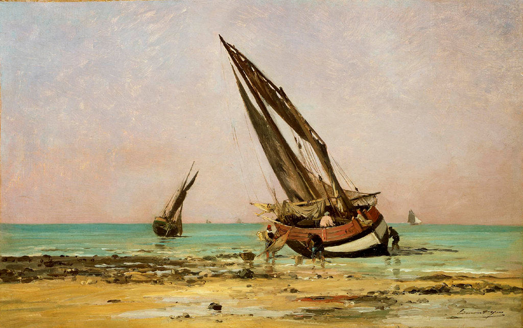 Detail of Beached fishing boats at low tide, Villerville by Edmond Yon