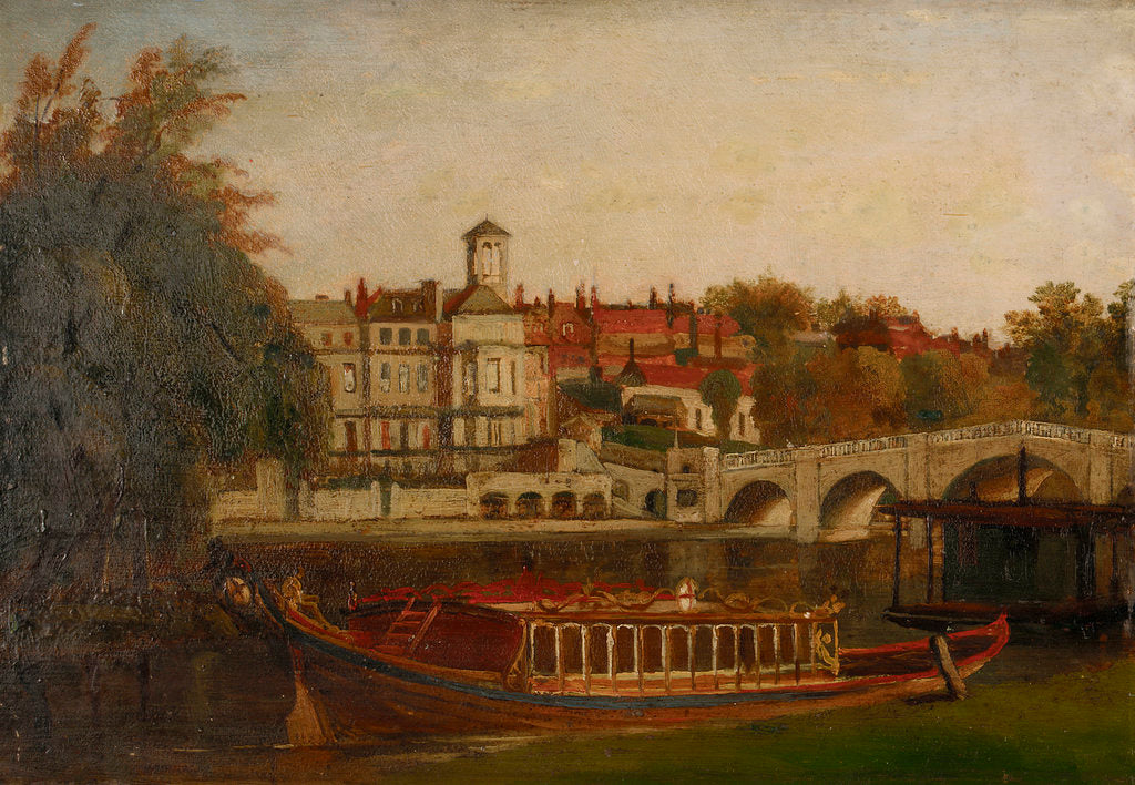 Detail of A city livery company barge on the Thames at Richmond by British School