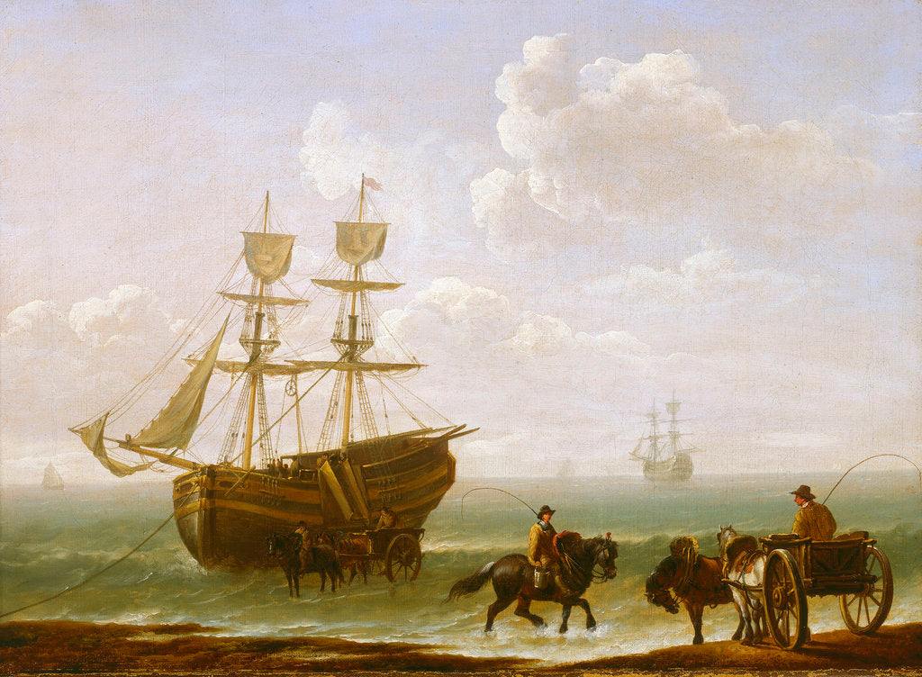 Detail of A beached Collier Unloading into Carts by Julius Caesar Ibbetson