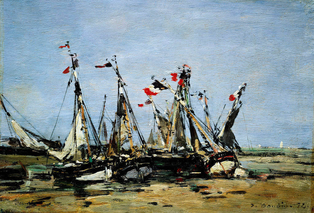 Detail of Trouville, awaiting the tide by Eugene Louis Boudin