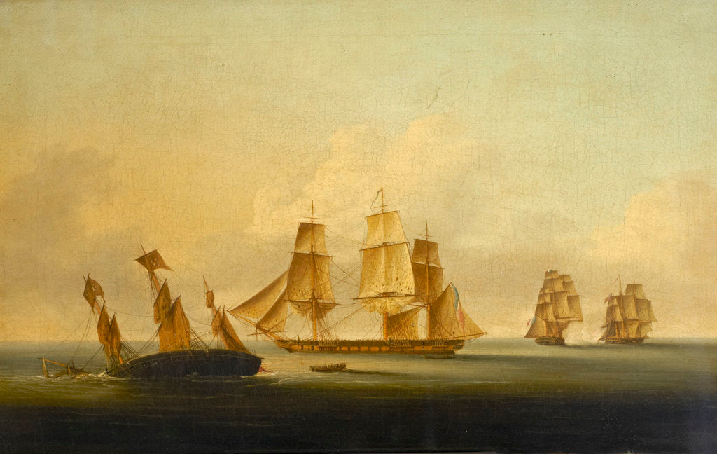End of the action between HMS 'Arrow' and 'Acheron' and the French frigates 'Hortense' and 'Incorruptible' by Francis Sartorius