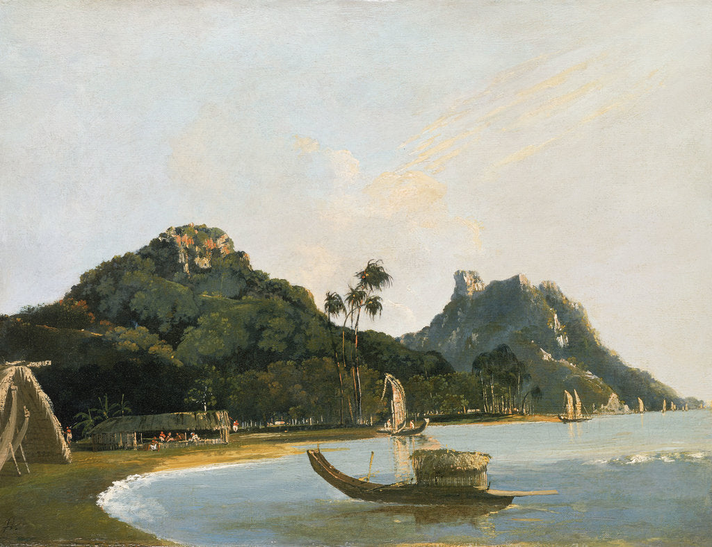 Detail of View of part of Owharre [Fare] harbour, island of Huahine by William Hodges