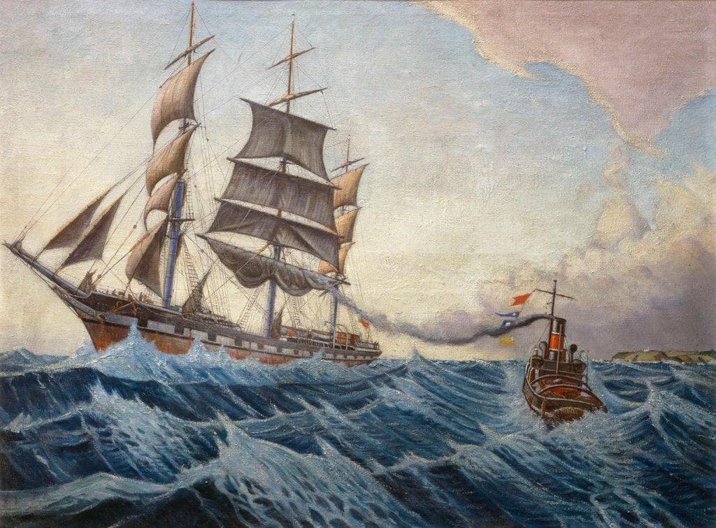 Detail of The 'Iquique' and tug 'Warrior' by John Everett