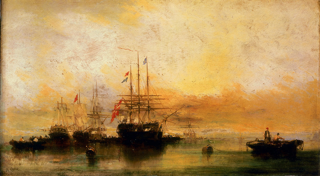 Detail of A Danish ship and other vessels becalmed by William McAlpine